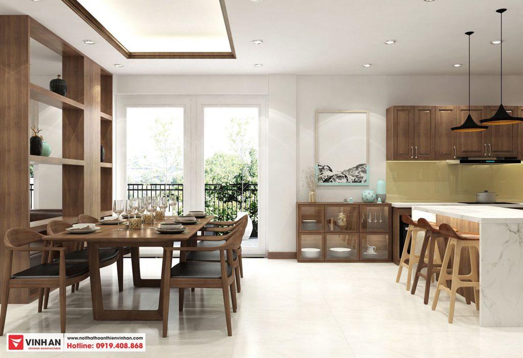 Thiết kế tủ bếp đơn giản, đường nét vuông vắn mang đậm phong cách hiện đại,